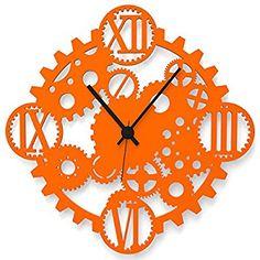 """Wandkings Wanduhr """"Zahnrad"""" aus Acrylglas, in 11 Farben erhältlich (Farbe: Uhr = Orange glänzend; Zeiger = Schwarz)"""