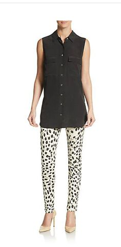 Love this style: tunic and skinny pants with heels :)