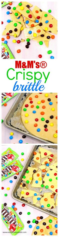 Think peanut brittle, but with M&M's® Crispy treats instead of peanuts! A total hit with my kids, and so yummy. Buttery brittle, chocolatey M&M's® Crispy treats for the win. #ad #CrispyisBack -Eazy Peazy Mealz