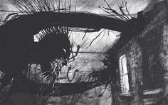 A Monster Calls-Looks scary but isn't. It's about dealing with fear in life. And images like this one are all over in the book.