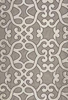 Amboise Linen Embroidery in Zinc from Schumacher Fabrics