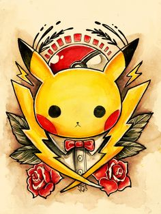 An ongoing personal project of mineMy earliest inspiration for drawing was pokemon and my current inspiration is traditional tattoos, so why not combine the two?I plan to draw all Pokemon eventually! Pikachu Tattoo, Pikachu Pikachu, 8 Bits, Tatuagem Old School, Pokemon Pictures, Cool Pokemon, Game Art, Tattoo Designs, Illustration Art