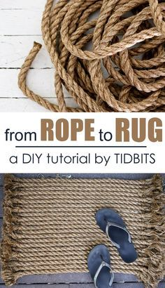 The best DIY projects & DIY ideas and tutorials: sewing, paper craft, DIY. Diy Crafts Ideas How to turn rope into a beautiful rug Rope Crafts, Diy And Crafts, Handmade Home Decor, Diy Home Decor, Handmade Rugs, Handmade Skirts, Handmade Ideas, Handmade Crafts, Tapetes Diy