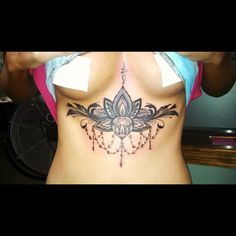 Love my sternum tattoo and the meaning behind it. The lotus flower means purity and the unalome means enlightenment
