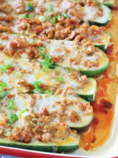 Taco Stuffed Zucchini Boats ~ these are low-carb and gluten free, and made with nothing but clean ingredients so you can enjoy two pieces without the guilt!