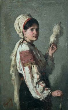 Nicolae Grigorescu - Taranca torcand Human Pictures, Romania, New Art, Needlepoint, 1 Decembrie, Art Drawings, Sculptures, Art Gallery, Matisse