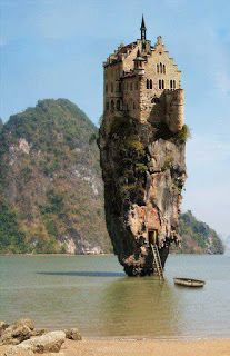 """Castle House Island Dublin Ireland?  You may have seen this photo on the Internet along with the claim that """"Castle House Island"""" is a real place in Dublin, Ireland. It's actually """"James Bond Island"""" in Khao Phing Kan, Thailand. The castle was placed on the photo using Photoshop. The castle shown is only a portion of Lichtenstein Castle (Germany)"""