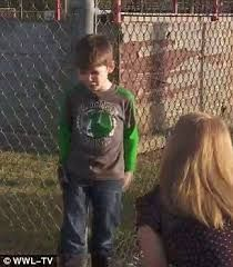 Kenneth Hotard, five, from Houma, Louisiana, told his substitute teacher that he had a note from his mother Kathleen giving him permission to walk home.