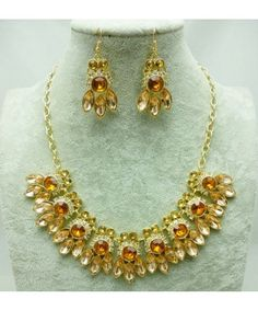 New 2013 Zara Luxurious Colourful Gem Crystal Honeybee Alloy Necklaces Earrings Jewelry Sets