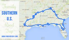 Itinerary, reviews, recommendations, roadside attractions, and good eats for a Southern U.S. family road trip through Texas, Louisiana, Mississippi, Alabama, Florida, Georgia, Tennessee, and Arkansas.  Click to get all the details on FabEveryday.com.