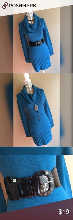 """Teal Sweater Dress Teal cowl turtleneck sweater dress with thick black belt by Derek Heart. Size Large. Bust 32"""" lying flat, stretches to 48"""". Shoulder to hem length 31"""". Belt included, small scuffs on the belt, see third photo for close up. Dress can be worn with or without the belt. Derek Heart Dresses"""