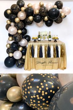 Black And Gold Party Decorations, Black Gold Party, Birthday Balloon Decorations, Graduation Decorations, 50th Birthday Centerpieces, Graduation Centerpiece, Graduation Parties, Graduation Ideas, Gold Birthday Party