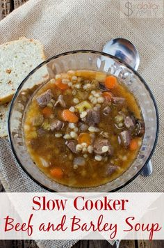 Crockpot Beef and Barley Soup Recipe - Need an easy but delicious dinner idea? Dump it all in your slow cooker and go! This Slow Cooker Beef and Barley soup recipe is perfect for the whole family! Healthy, filling and did I mention delicious?