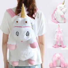 "New Despicable Me Fluffy Unicorn Plush Backpack Shoulder Bag 24"" Kids Adult Gift"