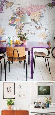 Eclectic colorful interiors