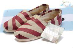 Burlap Striped Women Toms Classics Red