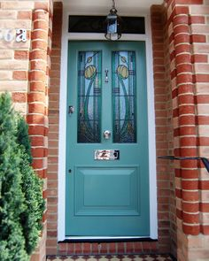 Victorian Door with Rennie Mackintosh lead Glass design Front Door Porch, Wooden Front Doors, House Front Door, Glass Front Door, Front Porches, Craftsman Front Doors, Victorian Front Doors, Interior Panel Doors, Glass Closet Doors