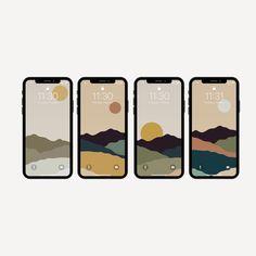 Set of 4 Boho Minimalistic iPhone Wallpapers   Phone Background   Phone Lockscreen