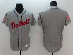 Men's Detroit Tigers Blank Gray Fashion Stars & Stripes 2016 Flexbase MLB Independence Day Jersey