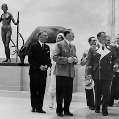 Adolf Hitler and senior Nazis Hermann Goering and Joseph Goebbels visit the 'House for German Art', Munich, 18 July 1937.