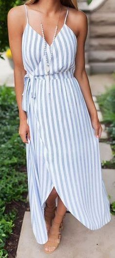 #summer #outfits / light blue stripes