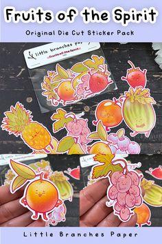 Original fruits of the Spirit hand drawn sticker pack - glossy die cut sticker set for journaling! Kawaii Fruit, Fruit Of The Spirit, Star Stickers, Sticker Paper, Journal Inspiration, All Design, Inktober, Branches, Hand Drawn