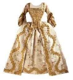 En el siglo XVIII se puso de moda entre las aristócratas el «vestido a la francesa», un elaborado diseño que constaba de tres partes: la bata, abierta en su parte delantera y que acababa en cola, la falda y una pieza superior de forma triangular que cubría el torso. El que se muestra aquí, de 1760, se conserva en el Museo de Arte de Los Ángeles.