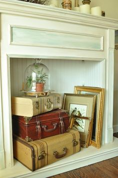 Display inside fireplace