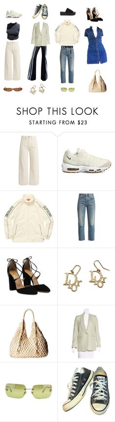 """""""how to style cream"""" by kayi-tesi ❤ liked on Polyvore featuring Brock Collection, NIKE, RE/DONE, Scully, STELLA McCARTNEY, Chanel and Converse"""