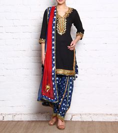 Black & Blue Cotton Patiala Salwar Kameez With Gota Patti