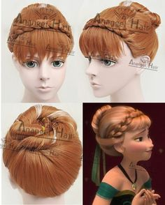 Free Hair Cap+ Princess Frozen Snow Queen Anna Cosplay Wig Anna Movie Updo Wig #Elike #FullUpdowig