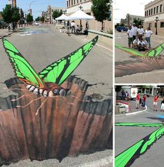 Anamorphic street art has been popular in Europe for years and is slowly beginning to arouse attention on this side of the pond. Manfred Stader and Edgar Muller are among the best known creators of this distinctive type of street art; an example of which is shown above from the annual Moose Jaw Prairie Arts Festival in Moose Jaw, Saskatchewan, Canada.