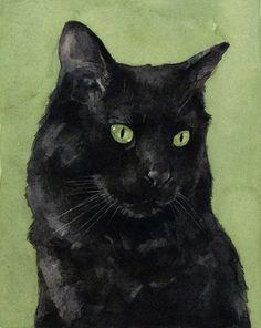 Gatto nero acquerello pittura stampa 5 x 7 di studiotuesday