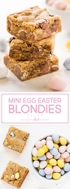 Mini egg Easter blondies are an easy dessert to make this spring. Stir in milk chocolate Cadbury mini eggs for an Easter surprise! The recipe calls for melted butter and brown sugar for a chewy and flavorful bar. | www.ifyougiveablondeakitchen.com
