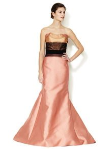 Silk Colorblock Mesh Bodice Gown by Carolina Herrera at Gilt