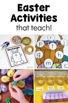 An awesome list of easter activities for toddlers and preschoolers, including lots of themed activities that teach!! There's science activities, literacy and alphabet activities, and math activities! Lots of free printables, too.