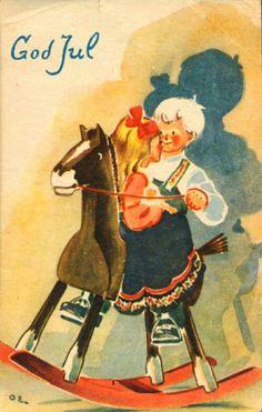Julekort Olav Eriksen utg Abels kunstforlag brukt 1948