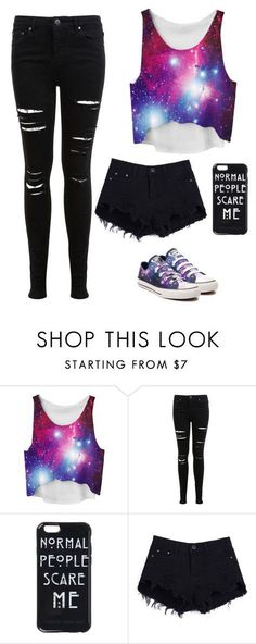 """Galaxy"" by kennedirogers ❤ liked on Polyvore featuring Miss Selfridge and Converse"
