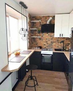 Kitchen Room Design, Home Room Design, Home Decor Kitchen, Interior Design Kitchen, Kitchen Furniture, Home Kitchens, Kitchen Ideas, Small Apartment Kitchen, Kitchen Small