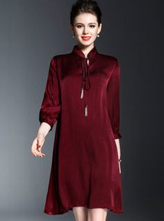 Brief Loose Tassel Lace-up Stand Collar Shift Dress