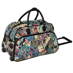 ed774e2d04aa Color Paisley Rolling Carry Duffle Bag White Red Blue Teal Brown Bohemian  Boho Chic Duffel Travel