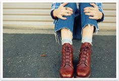 Lace-up Red Boots
