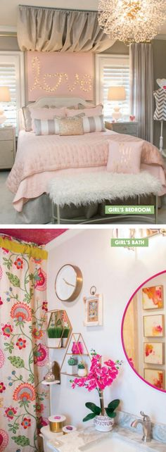 An improved, feminine bedroom that gives a place to rest, research study or delight friends stylishly. Pops of pink make for an enjoyable setting. Perfect room for a teenager or tween girl! Right here are inspiring Teen Bedroom Ideas You Will Love. Feminine Bedroom, Trendy Bedroom, Modern Bedroom, Woman Bedroom, Dream Bedroom, Diy Bedroom, Female Bedroom, Bedroom Decor For Teen Girls Dream Rooms, Budget Bedroom