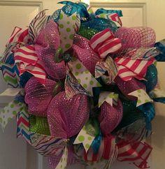 Spring Deco Mesh Wreath by KristinsDecoMesh on Etsy, $60.00
