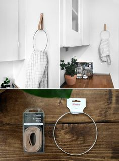 Jeg fik i dag lavet en lille fin DIY, som alle vist kan være med på. Med en sm… Today I made a little nice DIY, which everyone can join in. With a bit of leather, a ring and a… Continue reading → Diy Interior, Decoracion Low Cost, Diy Home Decor For Apartments, Decorate Apartment, Ideias Diy, Organization Hacks, Organizing, Tricks, Home Projects