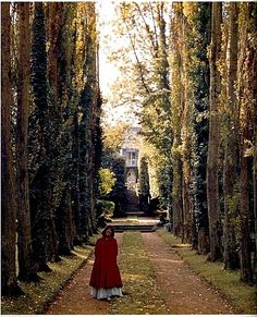The back of Leves facing the Rue des Grands Pres, with Madame Castaing in the foreground. Tragically, the grounds look nothing like this today. All the trees and ivy have been taken down.