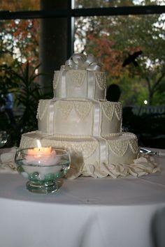 Satin Ribbon #Wedding #Cake, one of Teatime's very first designs.  www.teatimeinc.com