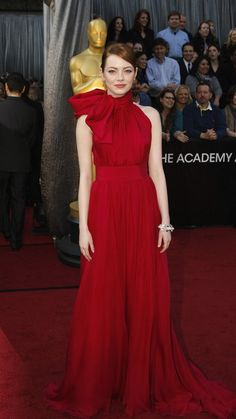 Emma Stone arrives at the 84th Academy Awards.