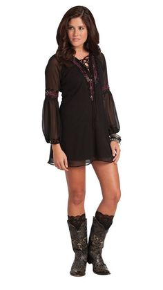 Cowgirl Boho Tunic Top Women L Black Rancho Estancia Western Embroidered NEW  #RanchoEstancia #TunicTopDress #CasualSummerCruise