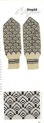 Otepää, Estonia - beautiful white and black intarsia knitted mitts